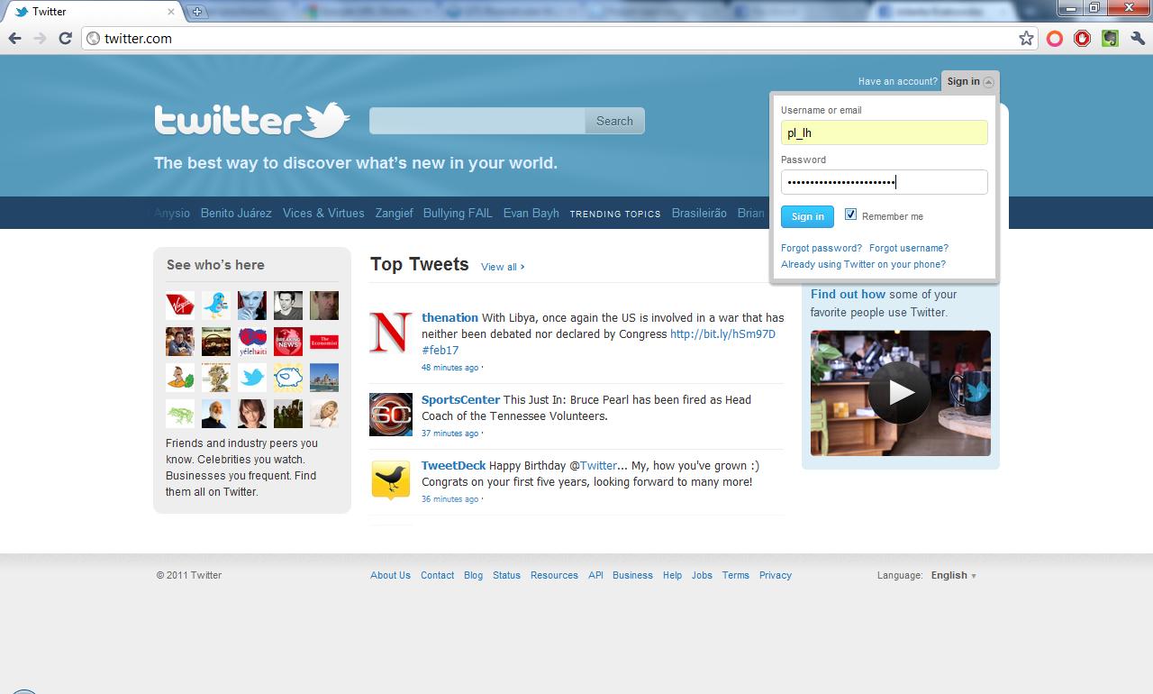 Okno logowania Twitter