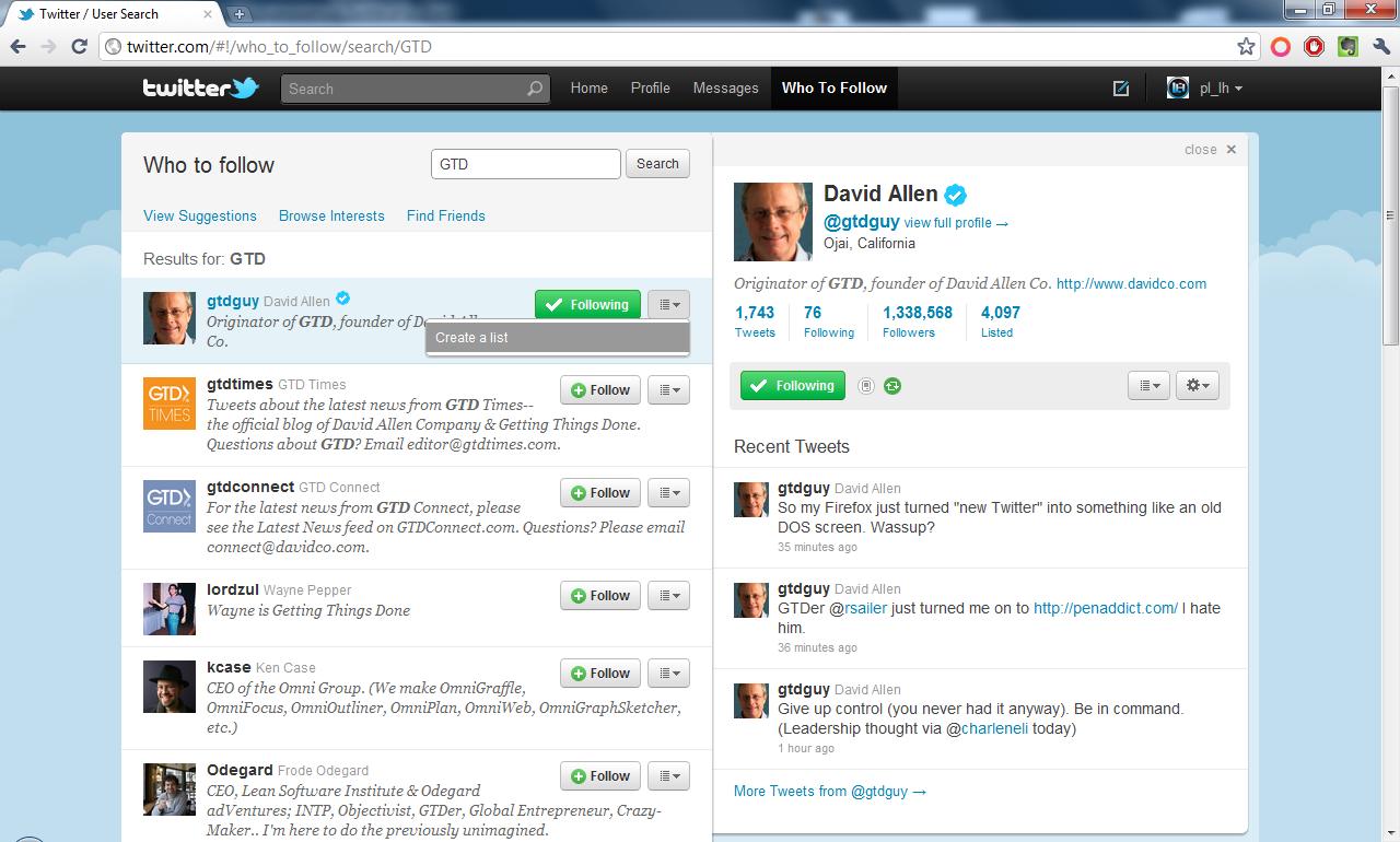 Who to follow - Lista wybranych według słów kluczowych Twitter