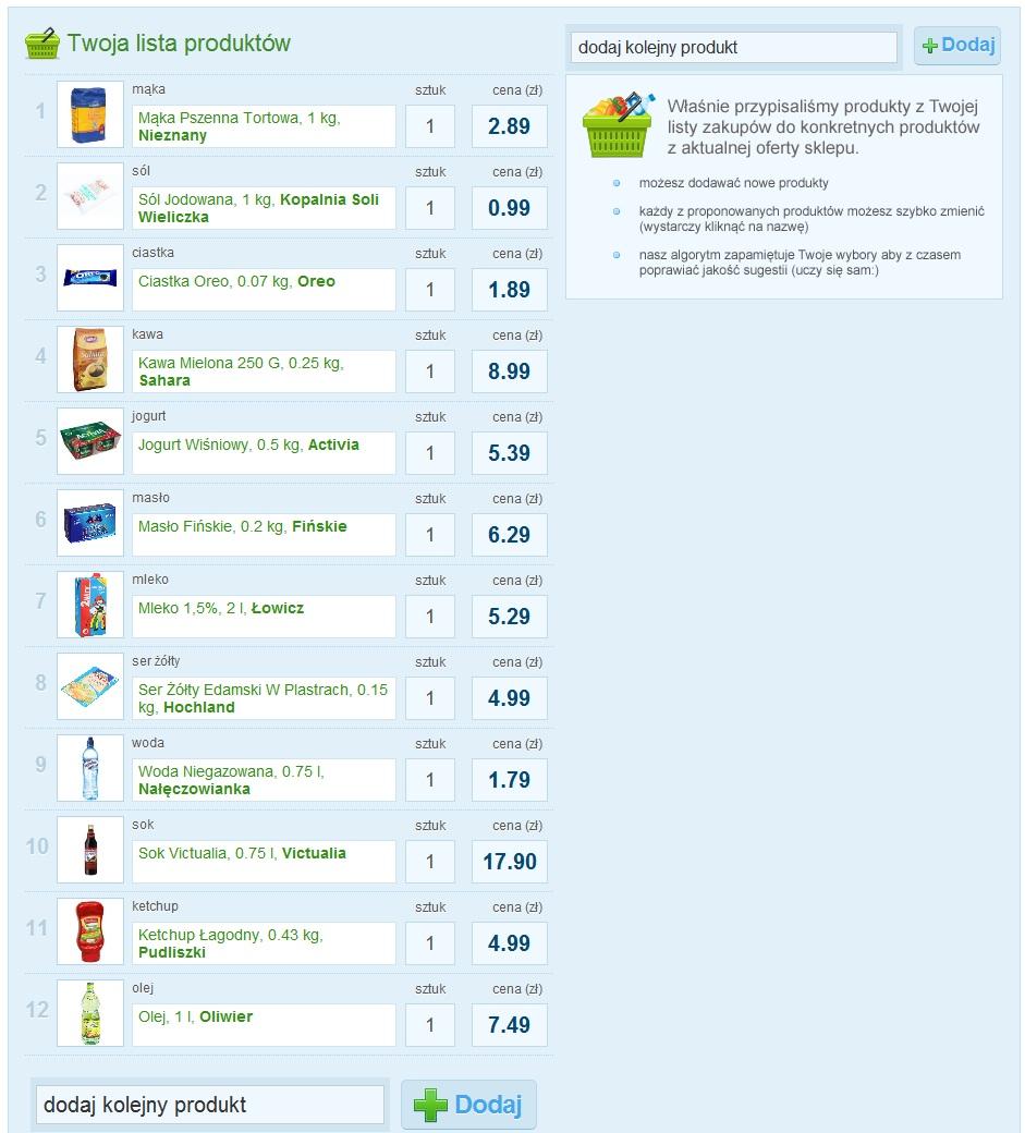 Wybór i dodawanie produktów do listy zakupowej - Listonic