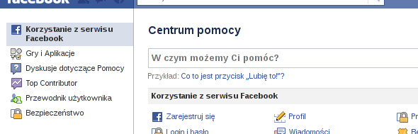 centrum pomocy Facebooka