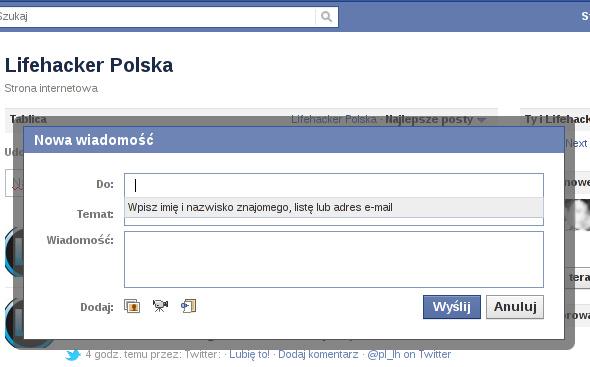 okienko komponowania wiadomości w serwisie Facebook