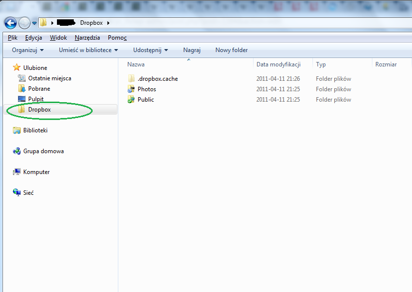 Folder Dropbox w Ulubionych Eksploratora Windows (Windows 7)