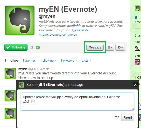 Wysyłanie tweeta bezpośrednio z Twittera do Evernote