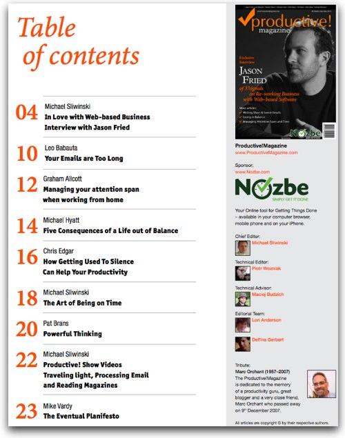 Nowy numer czasopisma Productive! już jest do pobrania - numer 8 Spis Treści