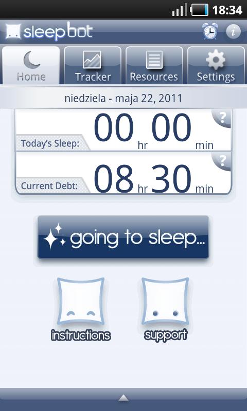 Sleep Bot Tracker Log - ekran powitalny