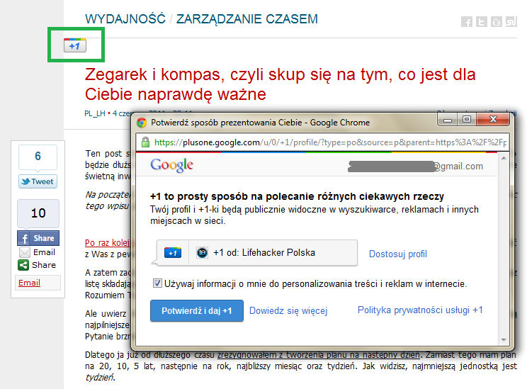 Kliknij tutaj i publicznie daj +1 (Przycisk Google+1)