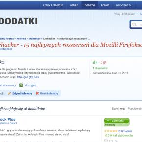 Lifehacker prezentuje: Kolekcjoner dodatków Mozilla Firefox - 15 najlepszych rozszerzeń (2011)