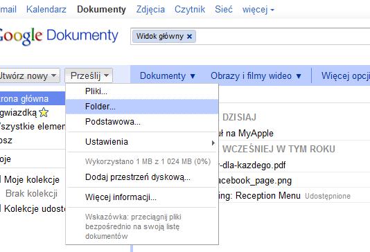 Upload folderów w Google Chrome