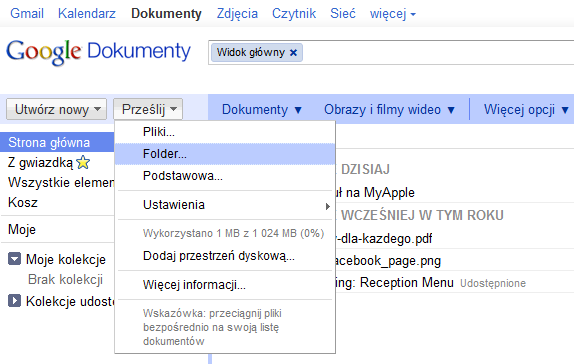 Upload folderów w Google Chrome