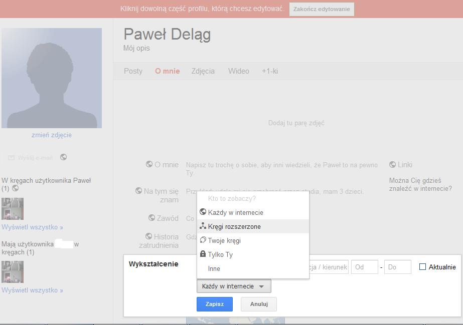 Edycja konta w Google+ i podawanie poszczególnym kręgom różnych danych - Lifehacker