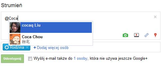 Symbole @ albo + wzmianki w statusie w Google+ (Strumień) - Lifehacker