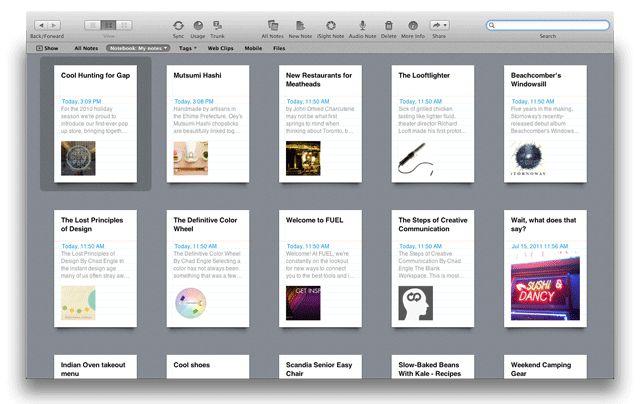 Evernote 3.0 dla Mac OS X 10.7 Lion - tryb pełnoekranowy