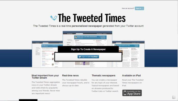 Aplikacja The Tweeted Times - strona główna