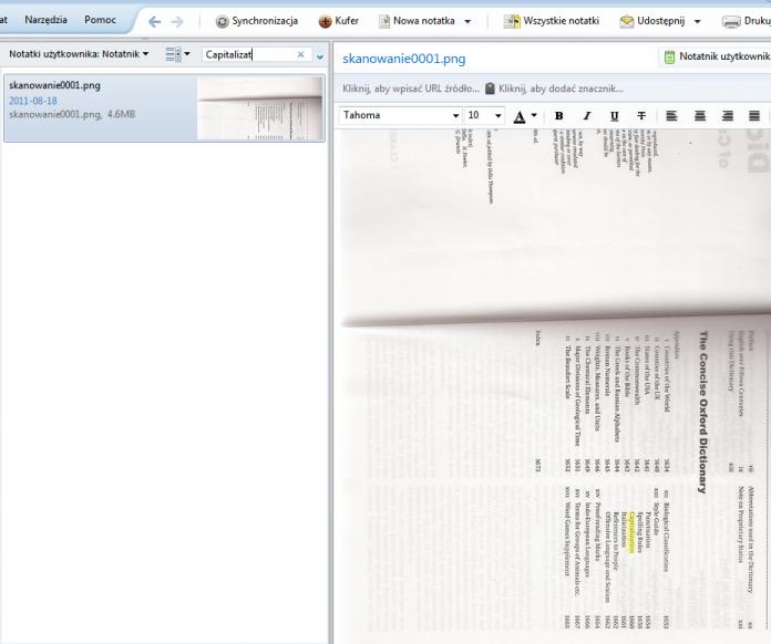 Zeskanowany spis treści - wyszukiwanie słowa w spisie treści (Evernote)