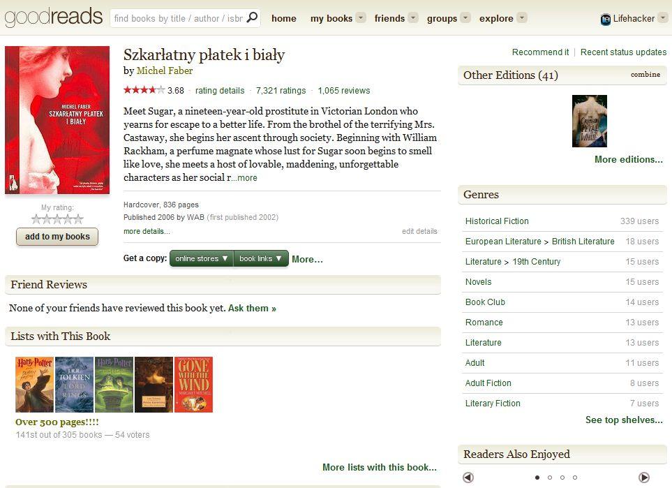 Goodreads - opis książki Michel Faber pt. Szkarłatny płatek i biały