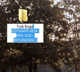 Wybór nazwy folderu - Tryb Boga w Windows 7