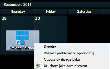 DesktopCal - Otwieranie skrótu znajdującego się w tle