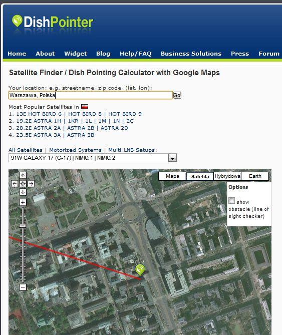 DishPointer pokazuje, w którym kierunku są skierowane anteny satelitarne