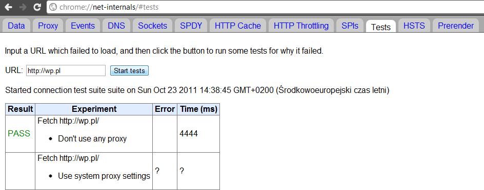 Diagnostyka sieci Google Chrome - Informacja sieciowa - test strony Wirtualna Polska