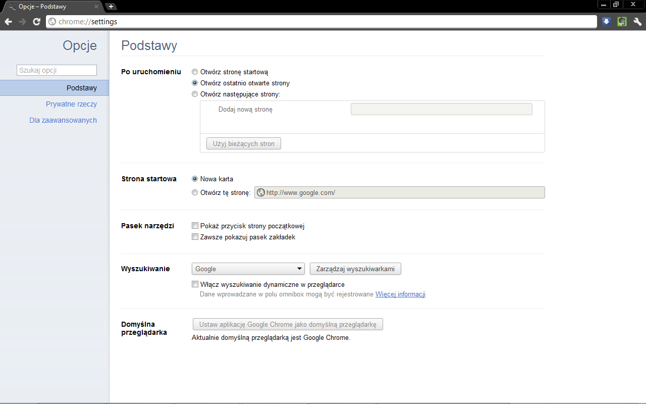 Opcje Google Chrome Settings