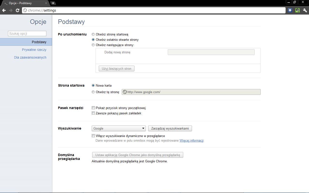 Opcje Google Chrome Settings