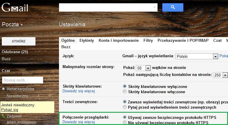 Połączenie przeglądarki - używaj zawsze w GMailu bezpiecznego protokołu HTTPS