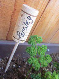 18 zapierających dech sposobów na wykorzystanie korków po winie - etykiety z nazwami roślin