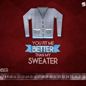 Grudniowe tapety z kalendarzem od Smashing Magazine - Sweater-1024x768