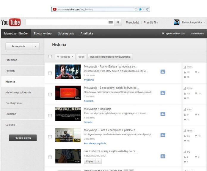 Jak znaleźć historię przeglądanych filmów na YouTube