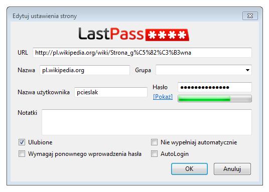Dodawanie nowego wpisu z hasłem do sejfu programu LastPass