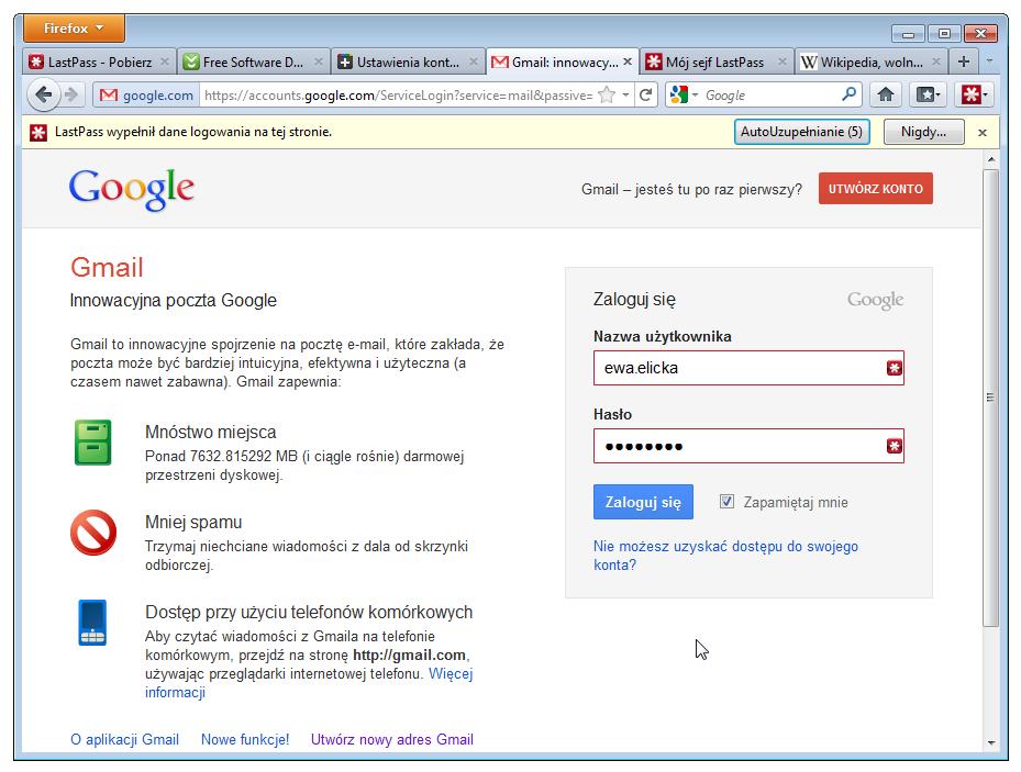 LastPass umożliwia automatyczne wprowadzanie haseł i logowanie do stron internetowych