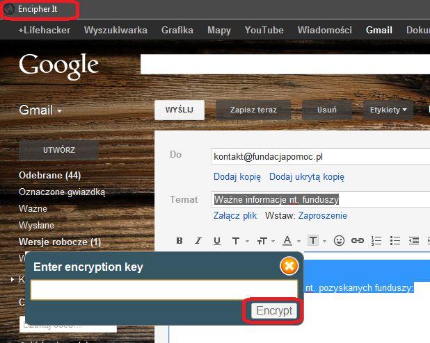 Szyfrowanie wiadomości (GMail) przy pomocy  Encipher