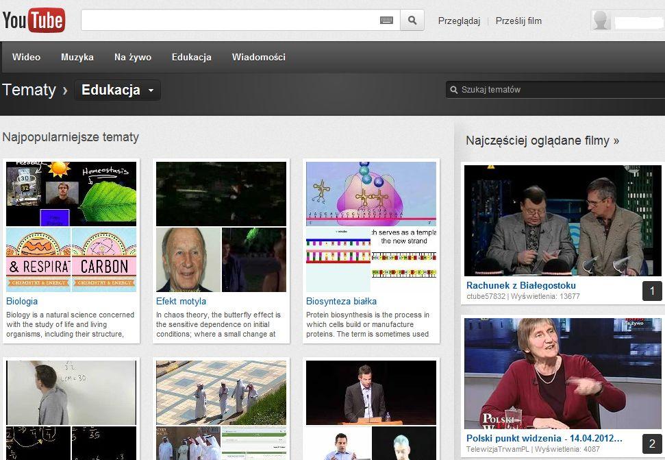 Eksperymentalna funkcja YouTube filmy na interesujący Cię temat