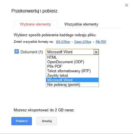 Google Docs - Przekonwertuj i pobierz