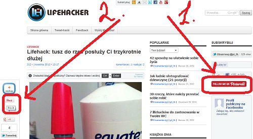 Lifehacker też ma swoje piny (1) - możecie je śledzić, obserwując nas w Pinterest. Dodatkowo możecie przypinać (2) artykuły i graficzne lifehacki