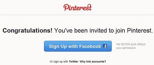 Szczęśliwi posiadacze zaproszeń mogą założyć konto w Pinterest, używając konta na Facebooku lub w Twitterze