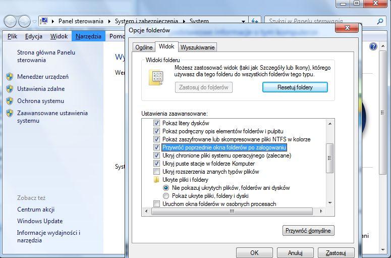 Opcje folderów Windows - Przywróć poprzednie okna folderów po zalogowaniu