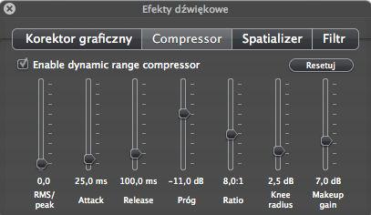 Włączamy opcję Enable dynamic range compression (VLC)