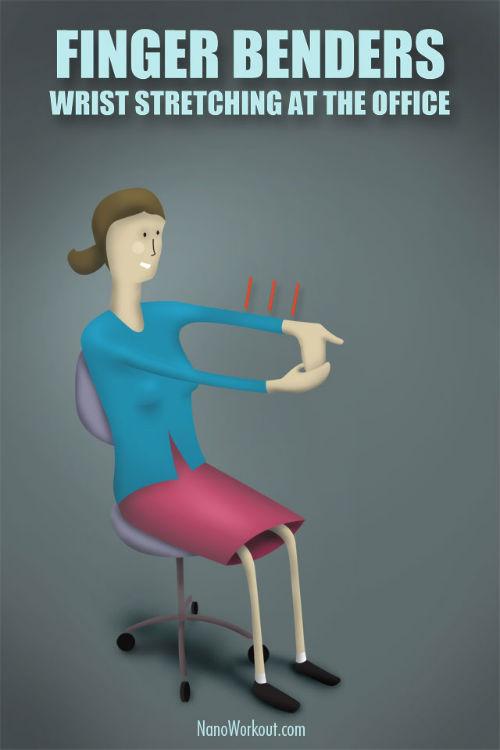 Ćwiczenie na rozciąganie nadgarstków w biurze