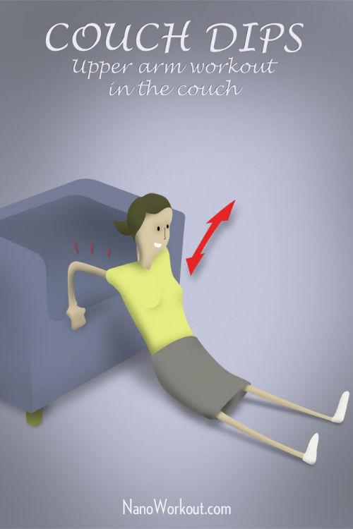 Pompki na kanapie - ćwiczenie na wzmocnienie rąk