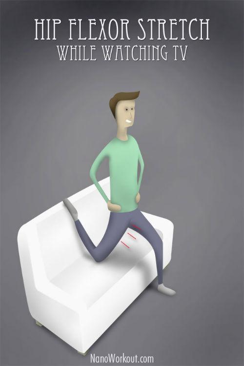 Rozciąganie zginacza stawu biodrowego podczas oglądania TV