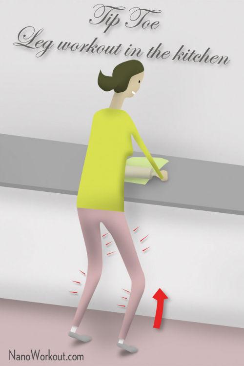 Stawanie na palcach - ćwiczenie na nogi (kuchnia)
