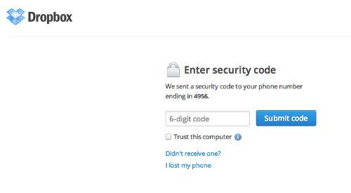 Dwustopniowa weryfikacja konta w serwisie Dropbox przypomina tę znaną nam z GMaila