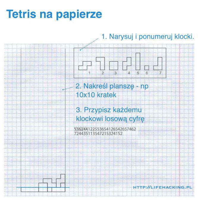 Jak zagrać w tetrisa na kartce papieru