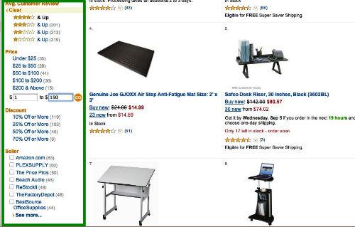 Krok 3 - Filtrowanie wyników wyszukiwania w sklepie Amazon