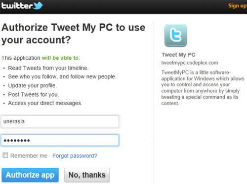 Autoryzacja TweetMyPC