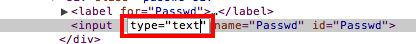 """Zobaczymy konsolę, w której wystarczy zamienić typ """"password"""" na """"text"""". 2"""