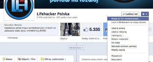 1. Facebook - Utwórz nową listę - Dodaj do listy zainteresowań