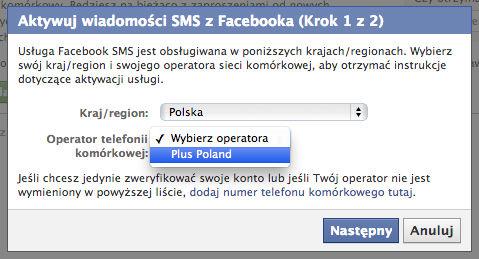 Aktywuj wiadomości SMS z Facebooka - Wybieramy kraj i operatora