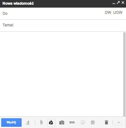 GMail - Jak można wysłać duży plik jako załącznik (do 10 Gb) - wstaw pliki za pomocą dysku Google Drive